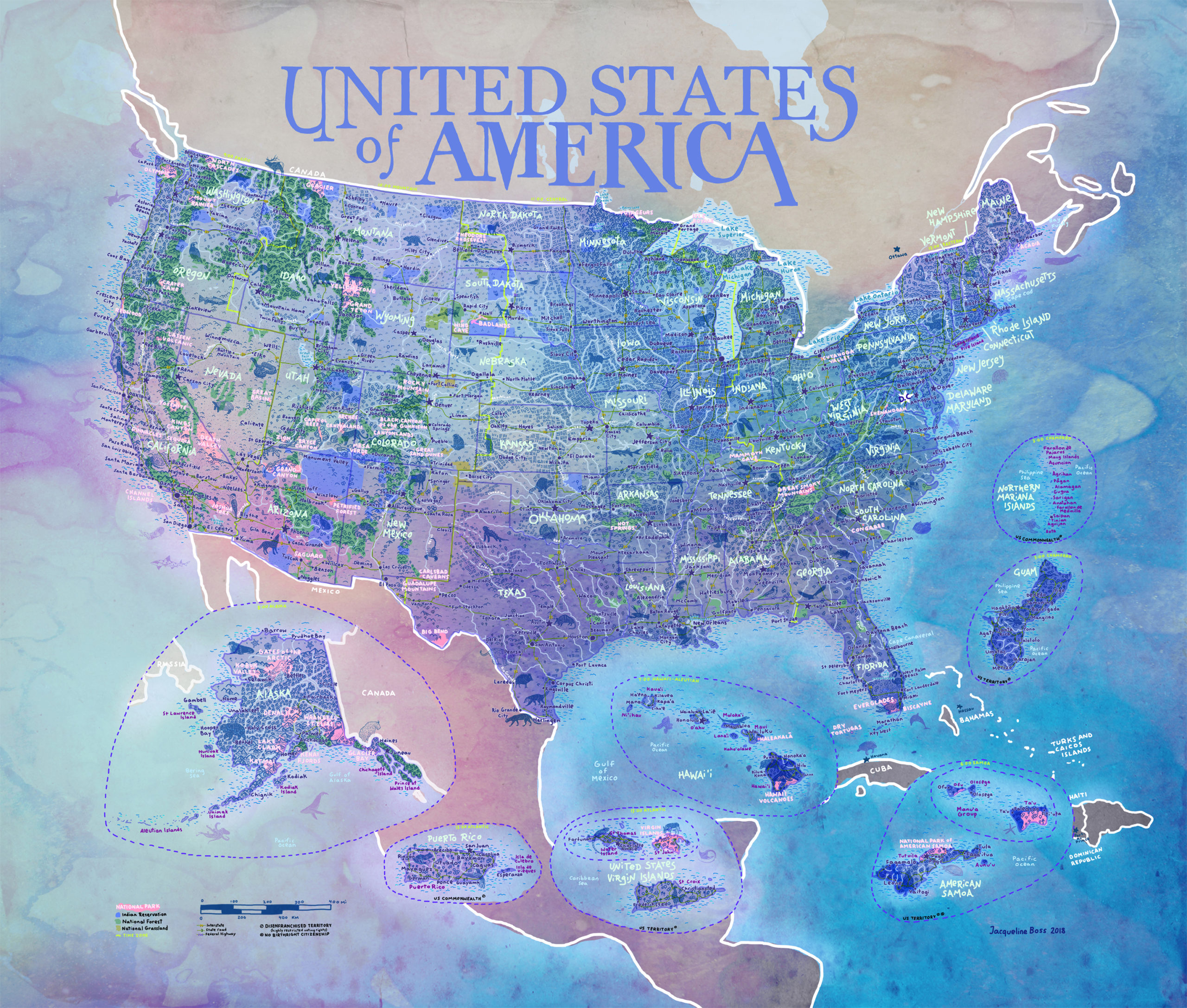 Picture of: Us National Parks Adventure Map Highlights America S Wildernesses Disenfranchised Territories